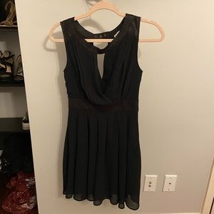 Double Zero Black Dress with Leather Details Small